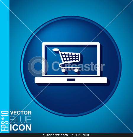 laptop with symbol shopping cart stock vector clipart, notebook with symbol shopping cart by LittleCuckoo