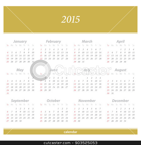 first stock vector clipart, 2015 new year European calendar. vector daily organizer template by metrue
