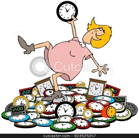 Autumn fall back stock photo, This illustration depicts a woman falling backwards onto a pile of clocks designating a time change for daylight savings. by Dennis Cox