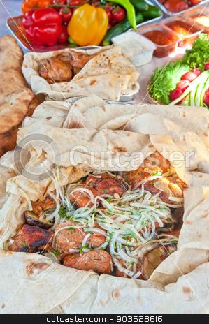 pork kebab stock photo, Delicious pork kebab with vegetables by olinchuk