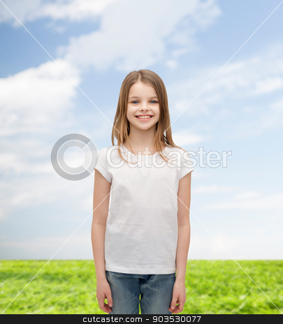 smiling little girl in white blank t-shirt stock photo, advertising and t-shirt design concept - smiling little girl in white blank t-shirt over white background by Syda Productions