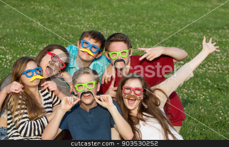 Silly Costumed Teens stock photo, Happy group of five teenagers in silly costume by Scott Griessel