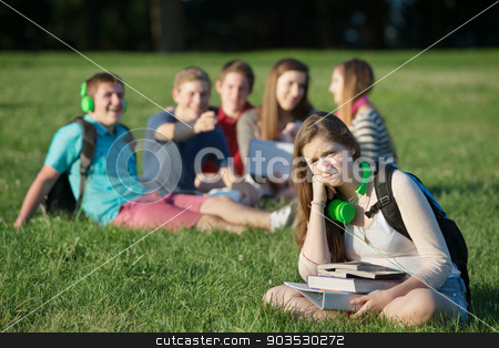 Frustrated Teen Near Group stock photo, Pouting teen girl near group on grass outdoors by Scott Griessel