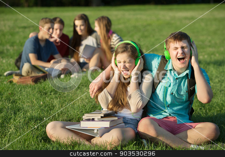 Happy Friends Singing stock photo, Pair of happy Caucasian teens singing out loud by Scott Griessel