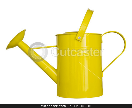 Yellow watering can isolated on a white background stock photo, Yellow watering can isolated on a white background clipping path by Pablo Caridad