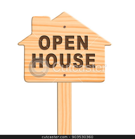 Open house sign, clipping path. stock photo, Open house sign isolated in white background, clipping path. by Pablo Caridad