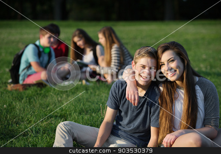 Cute Teen Couple stock photo, Cute teen couple sitting outdoors near group by Scott Griessel