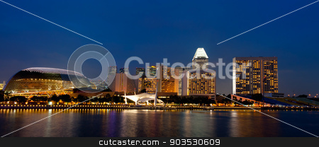 Singapore skyline at night.  stock photo, Singapore skyline at night. View from the marina. by Pablo Caridad