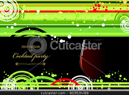 Green and yellow doted  background with wine glass of wine. Vect stock vector clipart, Green and yellow doted  background with wine glass of wine. Vector illustration by Leonid Dorfman