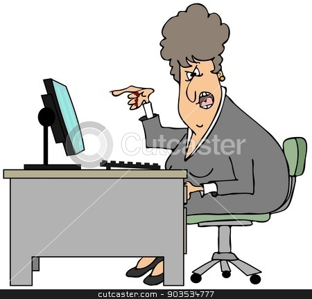 Irate woman sitting at a desk stock photo, This illustration depicts an irate woman sitting at her desk while screaming and pointing her finger. by Dennis Cox
