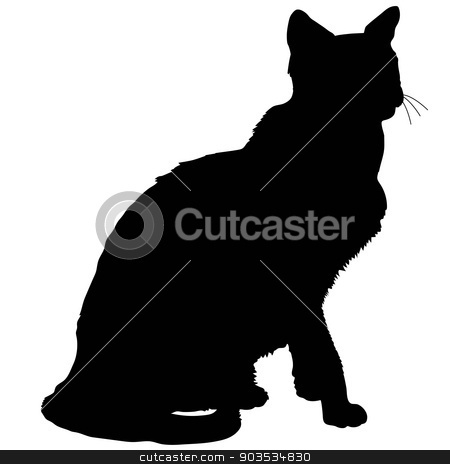 cat silhouette 4 stock vector clipart, A black silhouette of a sitting siamese cat by Maria Bell
