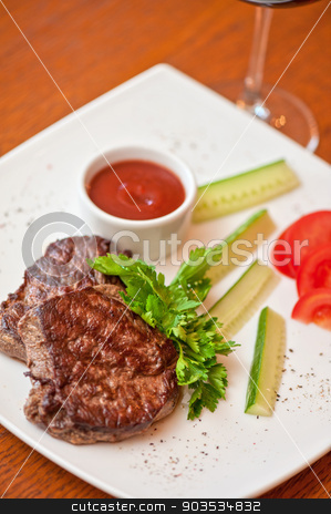 beef meat and wine stock photo, grilled beef steak with sauce and wine by olinchuk