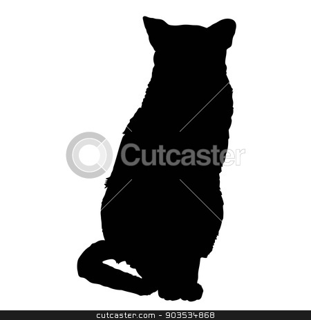 cat silhouette 3 stock vector clipart, A black silhouette of a sitting siamese cat by Maria Bell