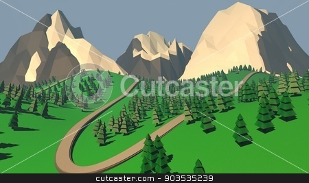The concept of landscape with fir trees and snowy mountains. 3D  stock photo, The concept of landscape with fir trees and snowy mountains. 3D illustration by Vyacheslav Ralko