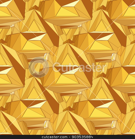 Gold seamless polygonal pattern. stock photo, Gold seamless background. Abstract 3D polygonal pattern. by Katyau