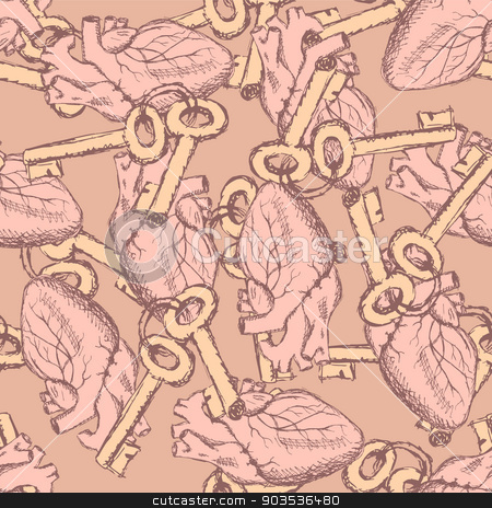 Cute vector keys and hearts seamless pattern stock vector clipart, Cute vector keys and hearts seamless pattern in vintage style by Lily