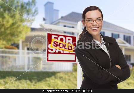 Mixed Race Woman in Front of House and Sold Sign stock photo, Attractive Mixed Race Woman in Front of House and Sold Real Estate Sign. by Andy Dean