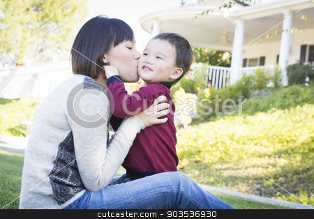 Chinese Mother Having Fun with Her Mixed Race Baby Son stock photo, Happy Chinese Mother Having Fun with Her Mixed Race Baby Son. by Andy Dean