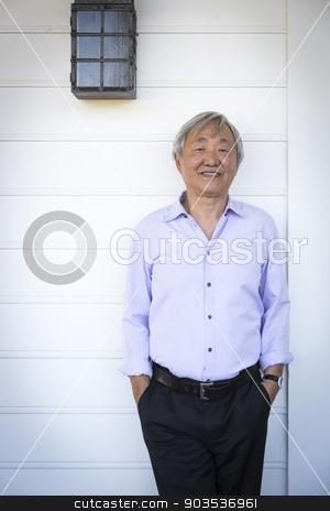 Attractive Older Chinese Man Portrait stock photo, Happy Attractive Older Chinese Man Portrait. by Andy Dean