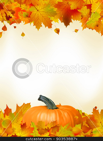 Colorful autumn card leaves with Pumpkin. EPS 8 stock vector clipart, Colorful autumn card template leaves with Pumpkin and copy space. EPS 8 vector file included by Vladimir Petrov