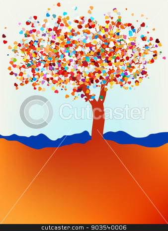Valentine tree, love, leaf from hearts. EPS 8 stock vector clipart, Valentine tree, love, leaf from hearts. EPS 8 vector file included by Vladimir Petrov