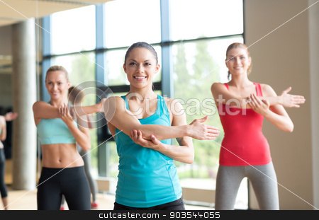 group of women working out in gym stock photo, fitness, sport, training, gym and lifestyle concept - group of women working out in gym by Syda Productions