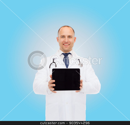 smiling male doctor with stethoscope and tablet pc stock photo, medicine, profession, advertisement and healthcare concept - smiling male doctor with tablet pc computer and stethoscope over blue background by Syda Productions