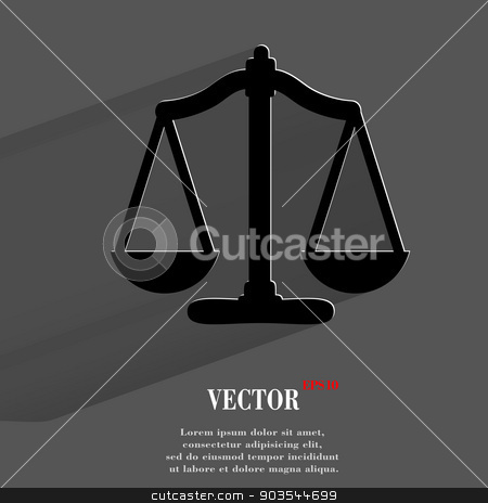 Scales balance. Flat modern web button with long shadow and space for your text stock vector clipart, Scales balance. Flat modern web button with long shadow and space for your text. Vector. EPS10 by Serhii