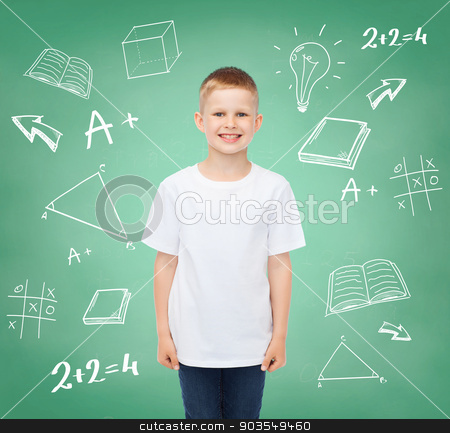 little boy in white t-shirt stock photo, happiness, childhood, school education, advertisement and people concept - smiling little boy in white t-shirt over green board with doodles background by Syda Productions