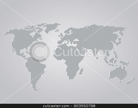 World Map stock vector clipart, World Map 3d folded squares vector illustration by Miroslava Hlavacova