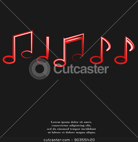 Music notes on staves with abstract background stock photo, Music notes on staves with abstract background. by Serhii