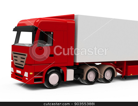 The truck stock photo, 3d generated picture of a red truck by Stefan