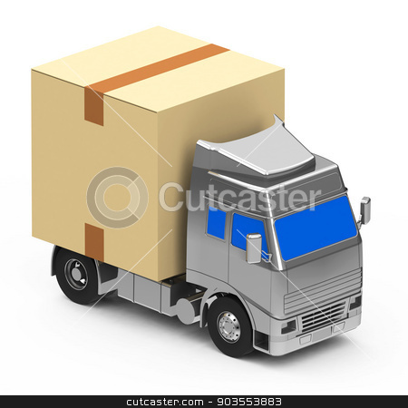 Box on a truck stock photo, A transport box on a truck by Stefan