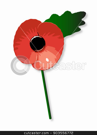 Poppy stock vector clipart, Typical red poppy with leaf and stalk over a white background by Kotto