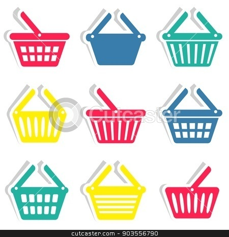 Shopping basket icons  stock vector clipart, Colorful vector shopping basket icons stickers collection isolated by blumer