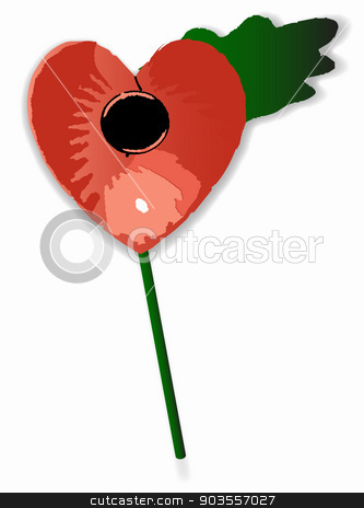 Poppy Heart stock vector clipart, A red poppy heart with leaf and stalk over a white background by Kotto