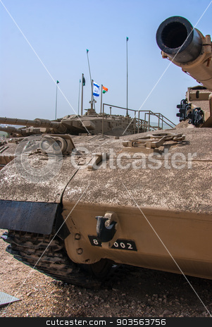 Israeli Merkava tank  in Latrun Armored Corps museum stock photo, Israeli Merkava Mark IV tank  in Latrun Armored Corps museum, Israel by Serhii