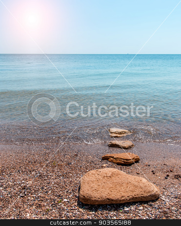 Quiet time. Sandy beach seashore in the morning stock photo, Quiet time. Sandy beach seashore in the morning by Serhii