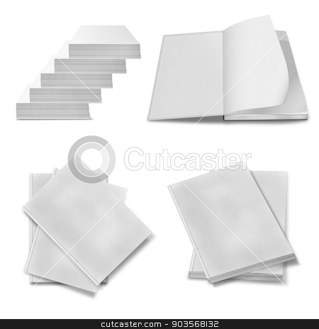 collection of various blank white paper on white background. stock photo, collection of various blank white paper on white background. each one is shot separately by Serhii