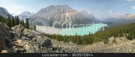 Peyto glacier lake in Rocky Mountains. Canada stock photo, Peyto glacier lake in Rocky Mountains. Panoramic view. Canada by ABBPhoto