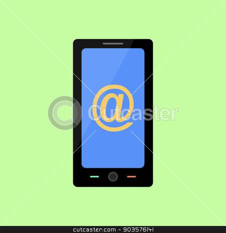 Flat style smart phone with mail sign stock vector clipart, Smart phone with mail icon in flat style by Irina Felzina