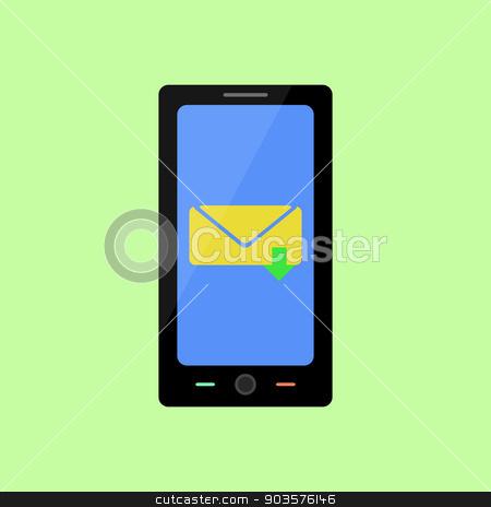 Flat style smart phone with inbox message stock vector clipart, Smart phone with inbox message in flat style by Irina Felzina