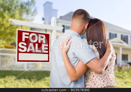 For Sale Real Estate Sign, Military Couple Looking at House stock photo, For Sale Real Estate Sign and Affectionate Military Couple Looking at Nice New House. by Andy Dean