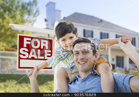 Mixed Race Father, Son Piggyback, Front of House, Sale Sign stock photo, Mixed Race Father and Son Piggyback in Front House and For Sale Real Estate Sign. by Andy Dean
