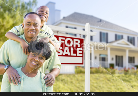 African American Family In Front of Sale Sign and House stock photo, Happy African American Family In Front of For Sale Real Estate Sign and House. by Andy Dean