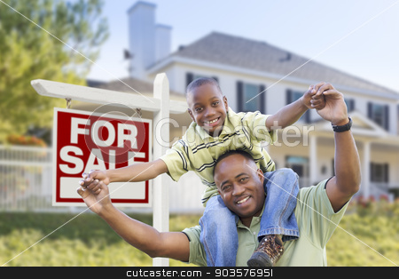 African American Father and Son, Sale Sign and Home stock photo, Happy African American Father and Son in Front of Home and For Sale Real Estate Sign. by Andy Dean