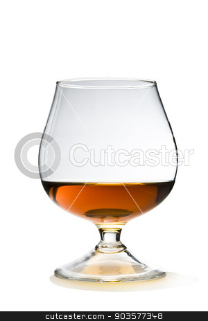 Cognac with Path stock photo, Cognac and Glass Snifter on White with Clipping Path Included. by Afanasiev Oleksii