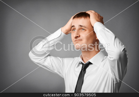portrait of nervous, stressed young man stock photo, Closeup portrait of nervous, stressed young nerdy guy man by MaStudio