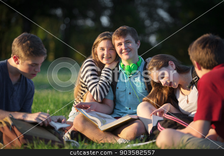 Friends Studying Outdoors stock photo, Happy girl leaning on boyfriends shoulders with friends outdoors by Scott Griessel