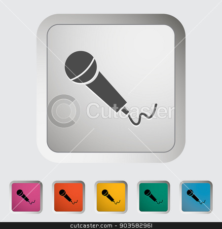 Microphone stock vector clipart, Microphone. Single icon. Vector illustration. by Afanasiev Oleksii